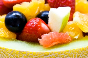 Fresh colorful fruits in a melon